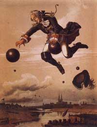 Старейшая цветная иллюстрация к «Приключениям Мюнхгаузена». Худож. А. фон Виллес. Литография, Дюссельдорф, 1856