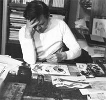 Евгений Алексеевич Медведев за работой, 1978 г. (фотография предоставлена художником)